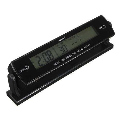 12V Car Clock Display Voltage Temperature Thermometer Alarm Monitor