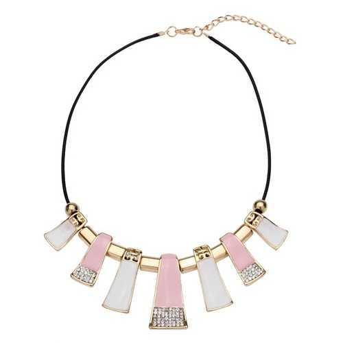 Crystal Leather Rope Irregular Geometric Pendant Statement Necklace