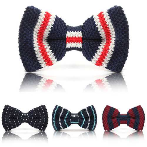 Men Knit Bowknot Wedding Party Adjustable Neckwear Necktie Bowtie Tie