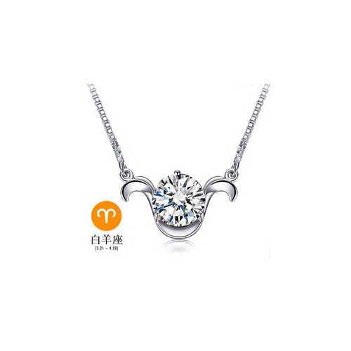 12 Constellations Gift Italina 925 Sterling Sliver Crystal Necklace for Women