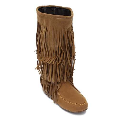 Women Layer Fringe Tassels Flat Heel Boots Decoration Mid Calf Shoes