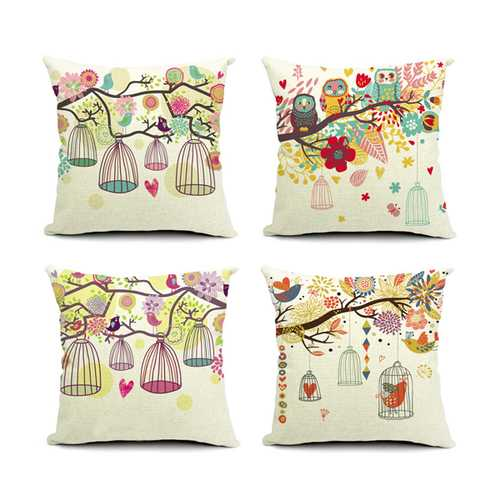 Birdcage Series Cotton Linen Sofa Pillowcase Decorative Cushion Cover