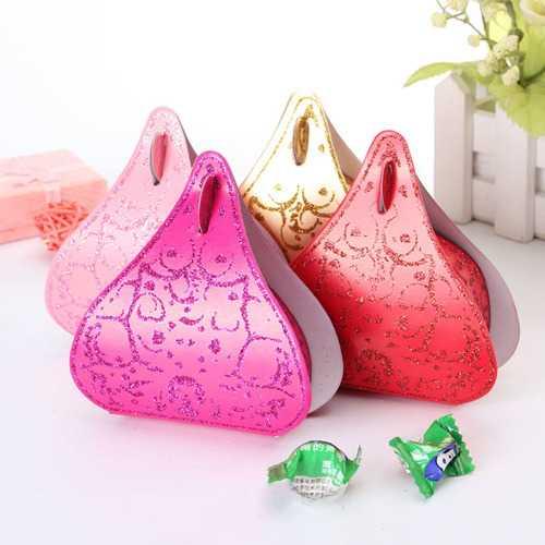 100Pcs Romantic Peach Heart Wedding Party Favor Candy Boxes