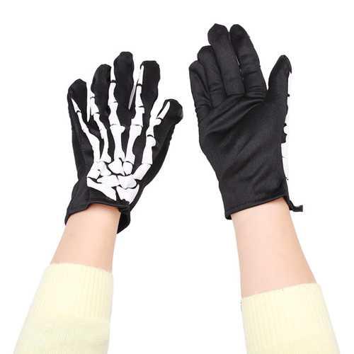 Fashion Halloween Skeleton Ghost Demon Elastic Skull Gloves
