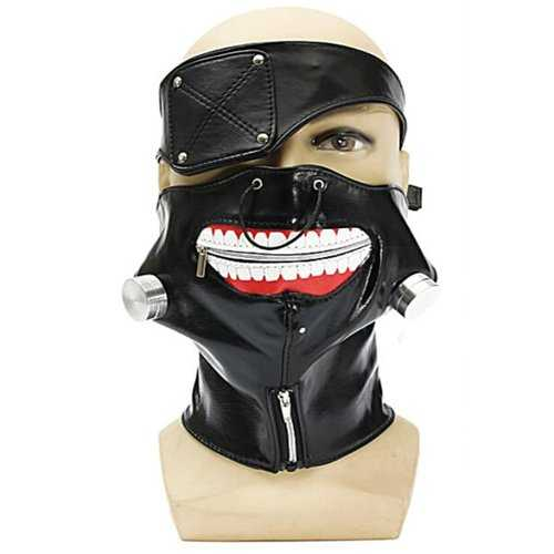 Adjustable Zipper Mouth PU Leather Eyepatch Mask Props