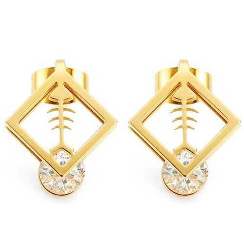 1pc Square Fish Bone Zircon Crystal Stud Earrings Gold Silver Plated