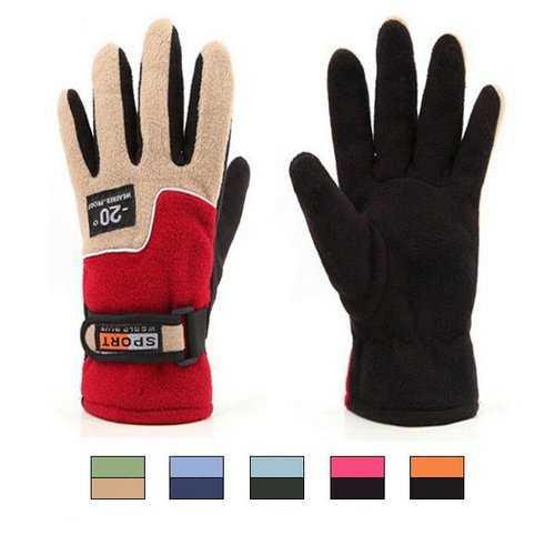 Female Fleece Outdoor Ski Gloves Warm Windproof