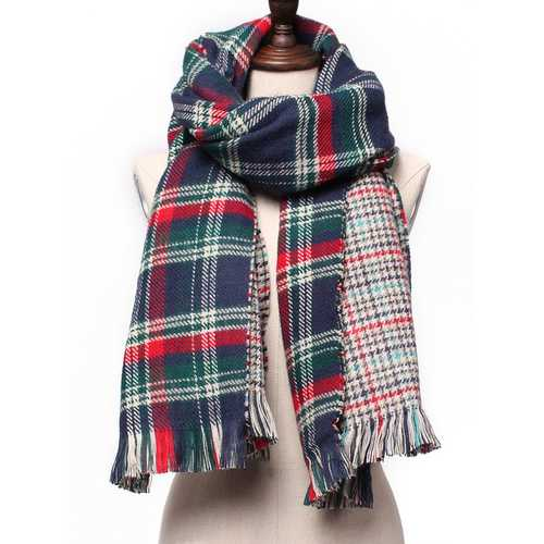 Fashion Casual Colorful Plaid Double Faced Knitted Tweed Scarf Shawl