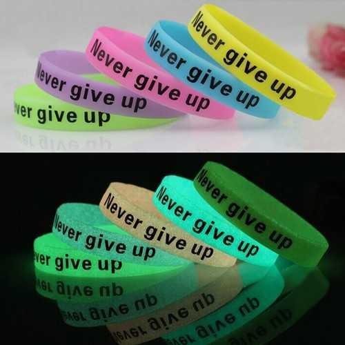 Multicolor Luminous Never Give Up Silicone Bracelet Wristband Unisex