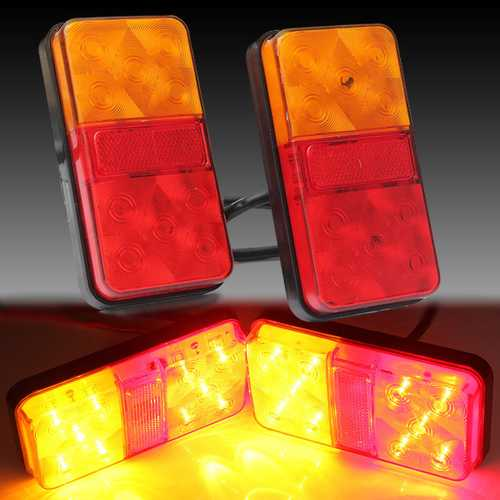 2PCS 12V 10LED Truck Car Rear Tail Light Stop Indicator Lamp Taillight