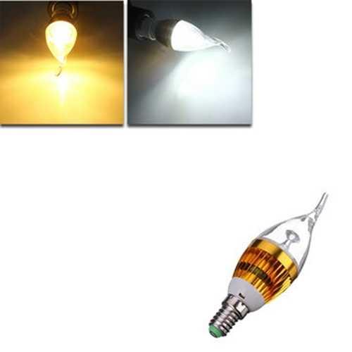 E14 4.5W 800-850lm White/Warm White 3LED Candle Light Bulb AC 85-265V