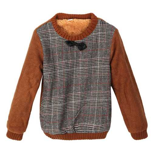 Baby Children Boys Thick Tie Lattice Plaid Fur Sweater