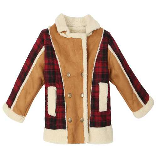 Baby Children Boys Fur Leather Plaid Jacket Double-Breasted Coat
