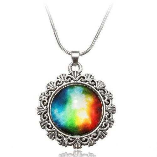 Galaxy Sky Nebula Space Glass Cabochon Silver Alloy Pendant Necklace