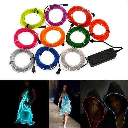4M 10 colors 3V Flexible Neon EL Wire Light Dance Party Decor Light