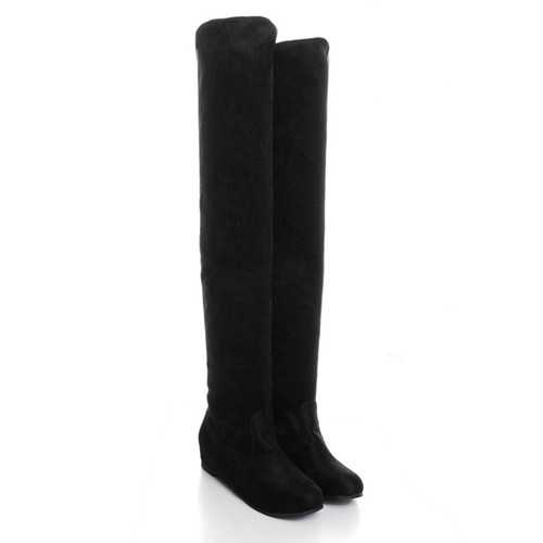 Women Flat Bottom Boots Shoes Over The Knee High Suede Long Boots