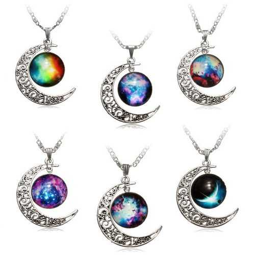 Galaxy Moon Universe Glass Cabochon Crescent Pendant Chain Necklace