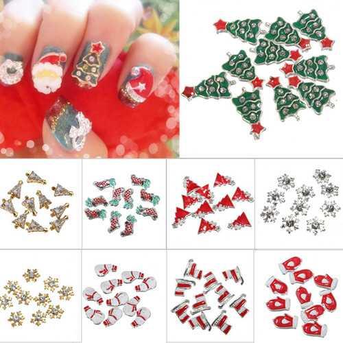10Pcs 3D Christmas Glitters Rhinestones DIY Nail Art Decoration
