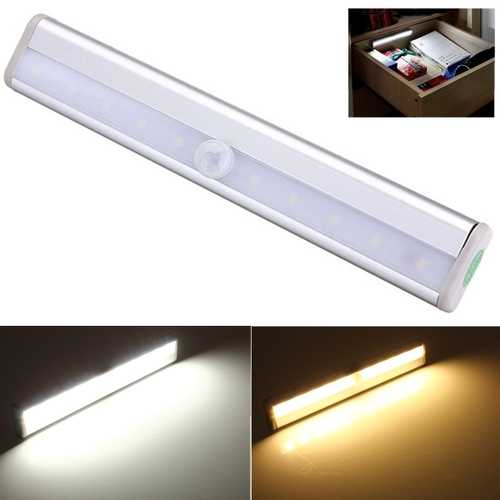 10 LED PIR Motion Sensor Light For Cabinet Wardrobe Bookcase Stairway