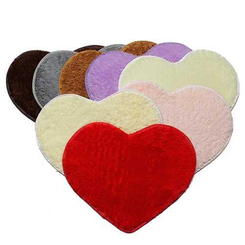 70x80cm Shaggy Heart Shower Rug Bath Mat Carpet Doormat Home Decor