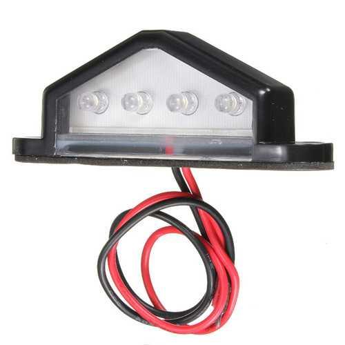 10-30V 4 LED Rear License Plate Light Lamp Truck Trailer Waterproof