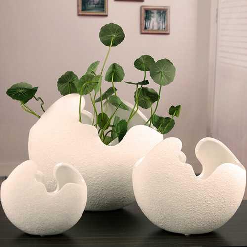 Creative Ceramic Egg Shell Shaped Desktop Flower Pots Potted Plants
