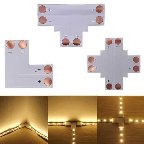 2pin LED Connector T Shape Corner For 8mm 5050/3528 LED Strip Light