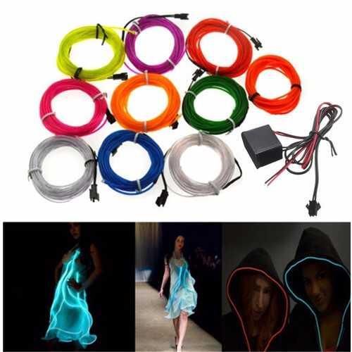 4M 10 Colors 12V Flexible Neon EL Wire Light Dance Party Decor Light
