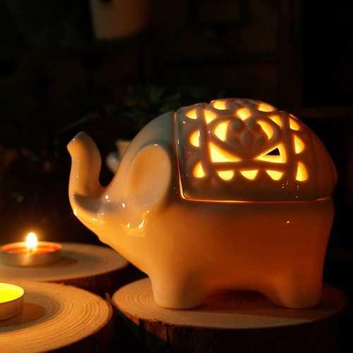 Creative Hollow Ceramic Elephant Crafts Aromatherapy Candle Holder