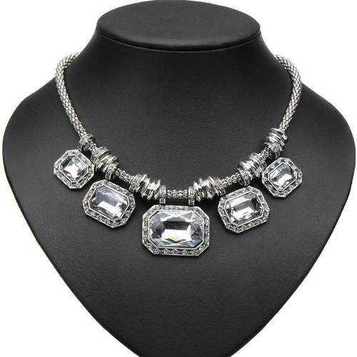 Luxury Crystal Rhinestone Square Choker Pendant Statement Necklace