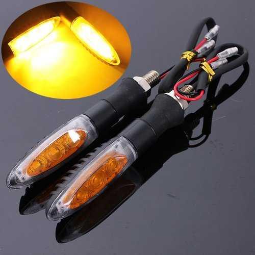 2pcs Universal Motorcycle 3 LED Turn Signal Indicator Amber Light