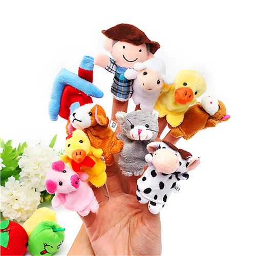 10 PCs Family Finger Puppets Cloth Doll Baby Educational Hand Toy