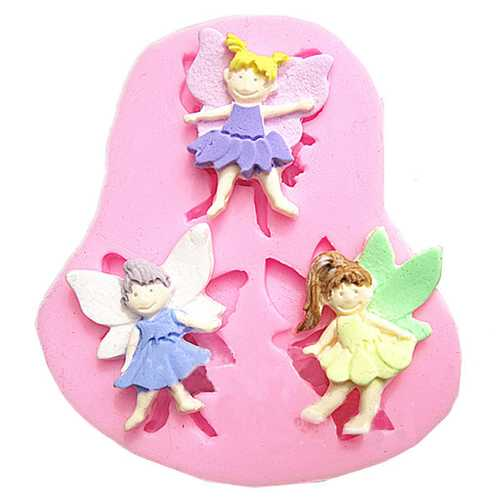 3 Elf Angel Silicone Fondant Mold Chocolate Polymer Clay Mould