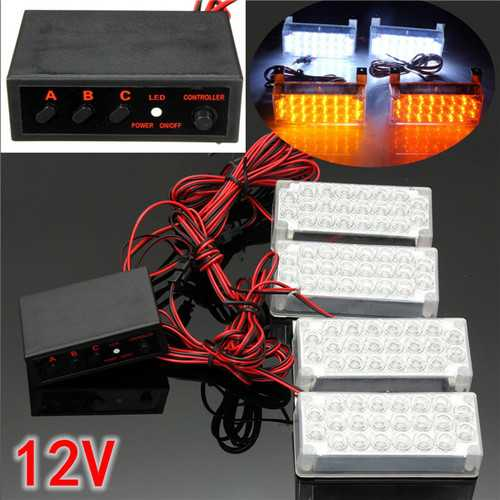 4x 22LED White Flashing Light Car Strobe Light with Controller 12V