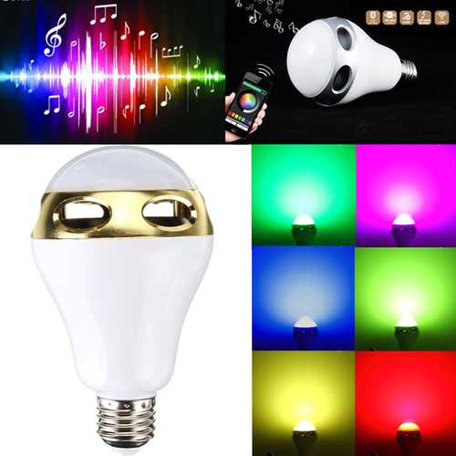 E27 bluetooth App Control Music Playing Audio Speaker LED Lamp 90-240V