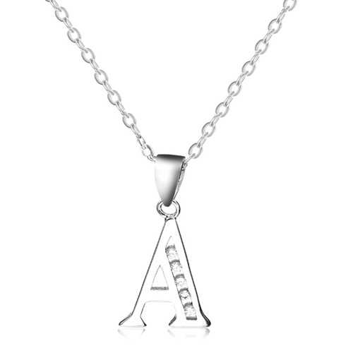 925 Sterling Silver Rhinestone Letter Charm Pendant Jewelry Clearence