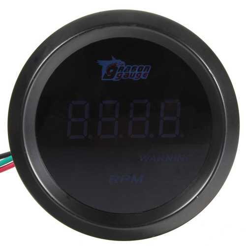 52mm Car Auto Tacho Tachometer Gauge Blue Digital LED Meter RPM