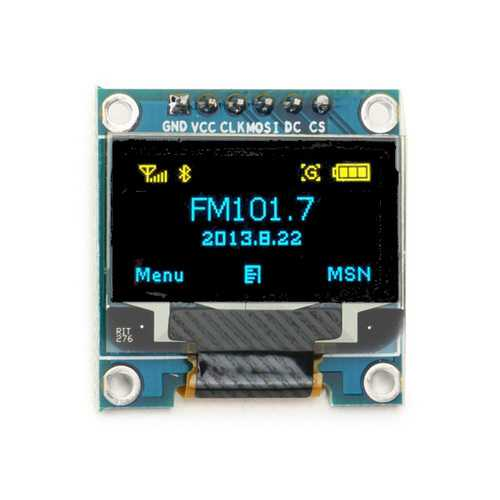 0.96 Inch 6Pin 12864 SPI Blue Yellow OLED Display Module For