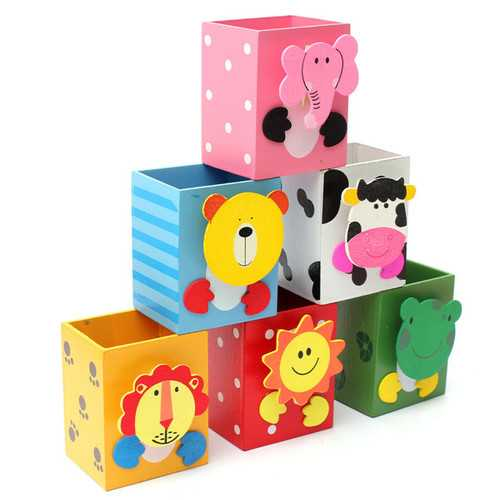 Cute Animal Pattern Rectangle Pen Holder Container Desk Organizer