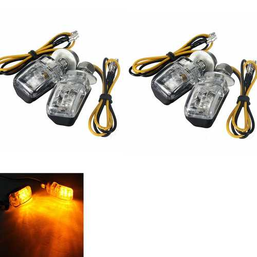 4Pcs Amber LED Mini Motorcycle Blinker Indicator Turn Lights