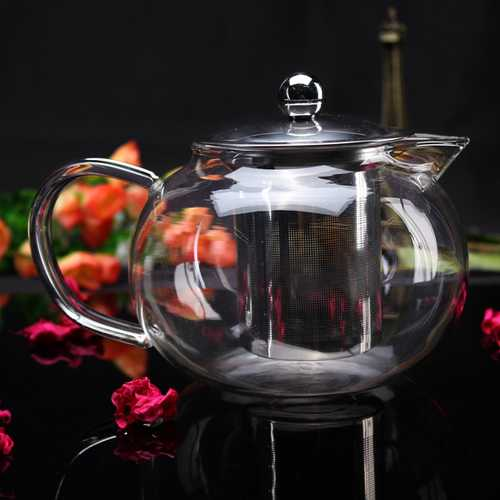800ml High Borosilicate Glass Filtering Teapot Stainless Tea Filter
