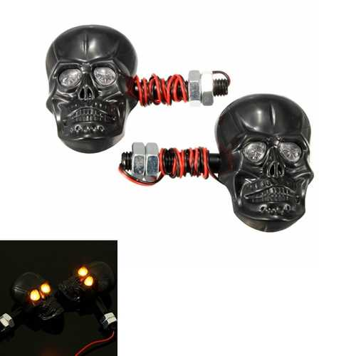 4pcs 12V 0.5W Motorcycle Skeleton Skull Turn Signal Indicator Light