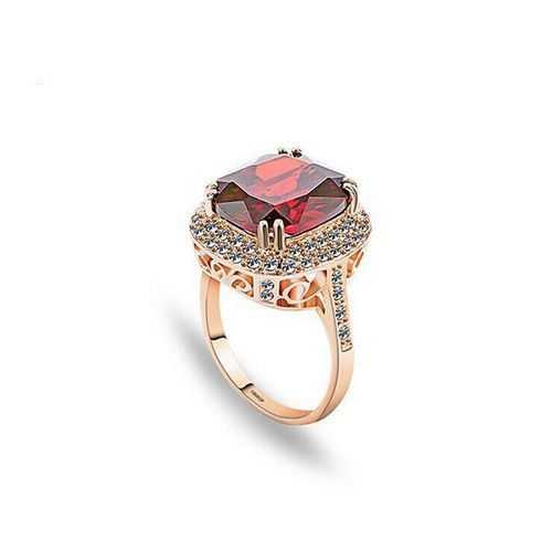 Italina 18K Rose Gold Plated Crystal Zircon Geometric Finger Ring