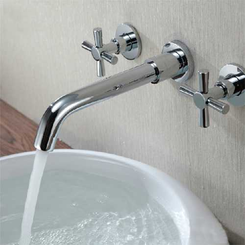 Chrome Brass Modern Wall Mounted 3 Hole Bath Faucet Tap