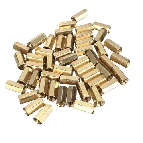 50pcs M3 10mm Double Pass Hollow Hex Copper Ferrule Cylinder Piller