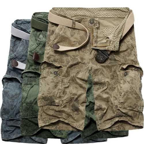 Mens Casual Loose Stripe Camo Cotton Multi Pockets Cargo ShorT-pants