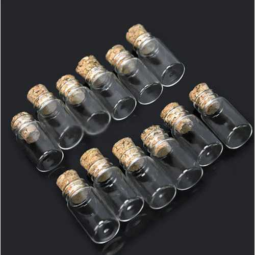 10Pcs 10x18mm Mini Clear Wishing Message Glass Bottles Vials With Cork