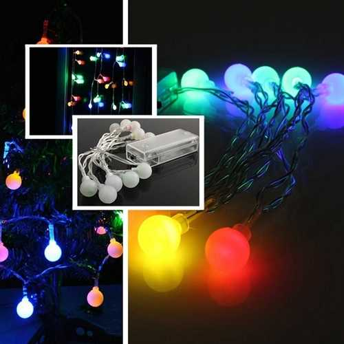 10 LED Battery Operated Colorful Ball String Fairy Light Party Xmas Wedding