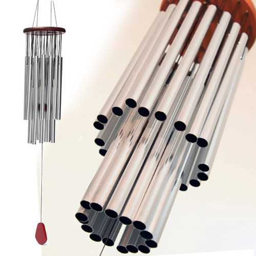 Amazing 27 Silver Tubes Wind Chimes Church Bells Hanging Decor