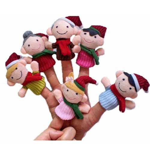 """Christmas family'' Kids Educational toy Finger Puppet Plush Story 6 PCS"